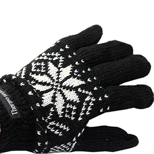 Accessoryo - Gants thermiques imprimés en flocons de neige noirs et blancs pour homme