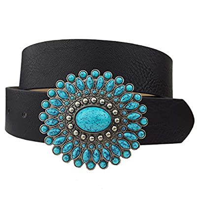 Western Turquoise Buckle with Vegan Leather Belt Black M