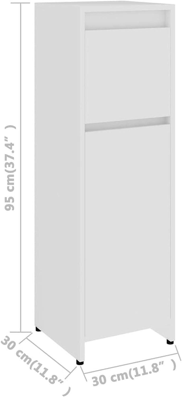 Tidyard Bathroom Cabinet Grey 30x30x95 cm Chipboard Storage Cabinet Tall Cupboard Bathroom Furniture