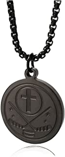 I CAN DO All Things Bible Verse Necklace Puck Baseball Basketball Football Soccer Stainless Steel Pendant for Men Women