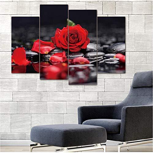 4 Piezas Lienzo Pintura Cuadro Modular Pared impresión Flor Rosa roja en Negro Pared Arte Cuadro con Pinturas murales Modernas 30x60cm 30x80cm sin Marco