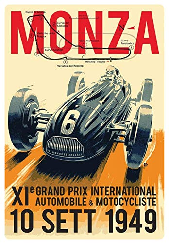 Cartel de Chapa genérica 20 x 30 cm Cartel Monza 1949 Grand Prix Auto