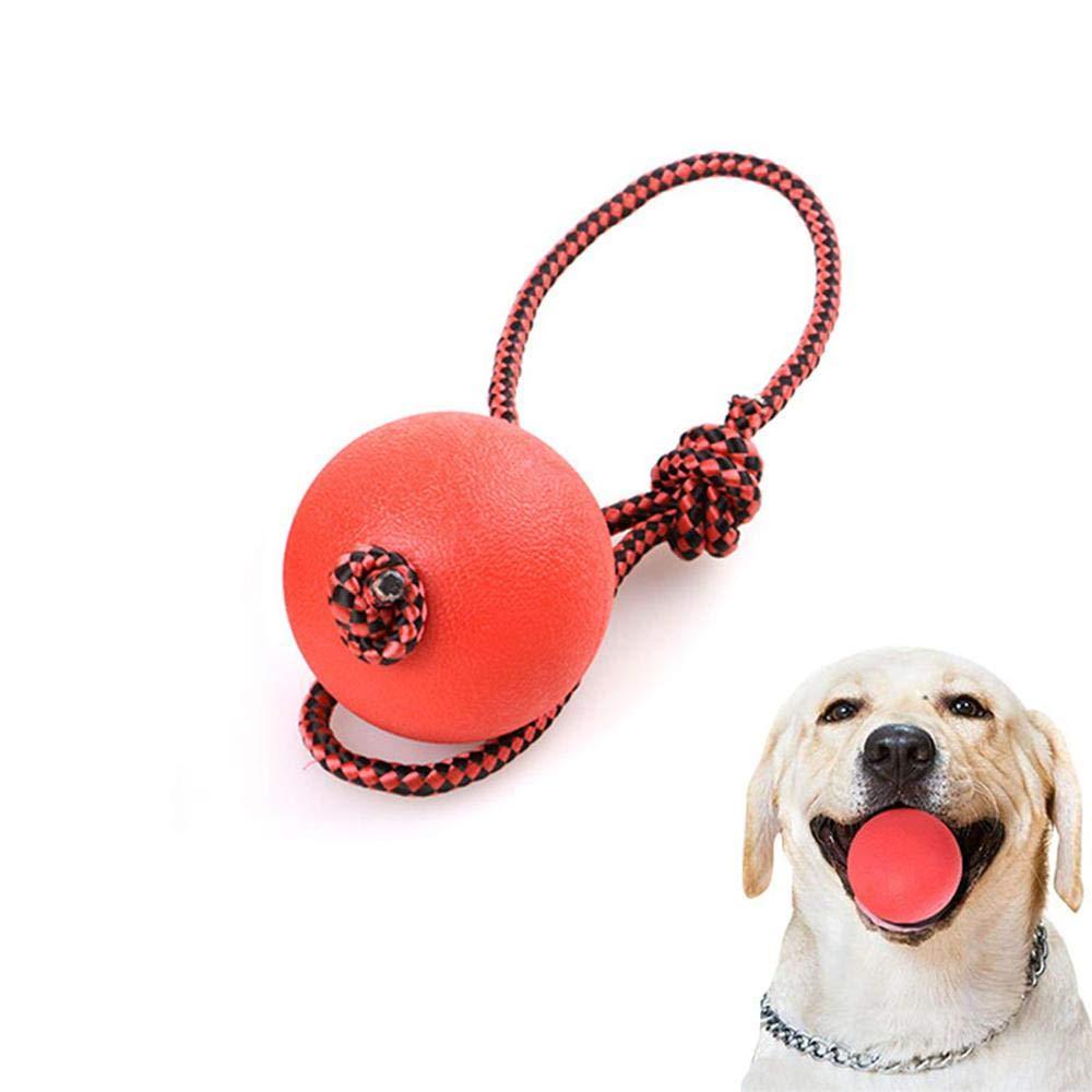 Pelota de perro Aolvo indestructible, juguetes divertidos para mascotas, bolas de goma maciza con cuerda, juguetes para masticar con bola rígida para perros IQ, bola para perros no chirridos, bola resistente a