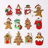 OBEST 12 Piezas Adornos Navideños De Hombre de Jengibre, Varias Figuras de Plástico, Colgantes para árboles de Navidad, Adornos para Colgar Escenas Navideñas