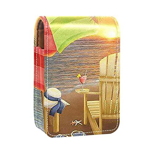 Étui à Rouge à lèvres Pochette cosmétique pour l'extérieur Mini Sac Support de avec Sac de Maquillage Miroir Boîte de Rouge Chaises de Plage de Coucher de Soleil d'été Flip Flop