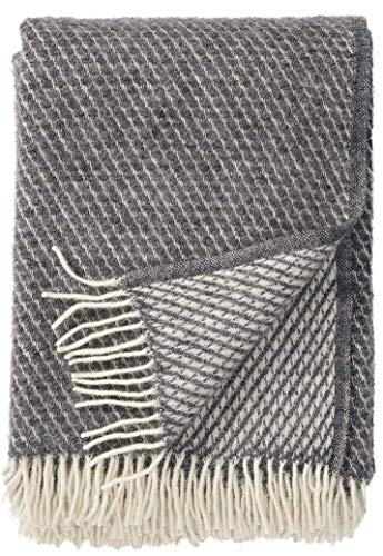 Klippan: Creme-graue Wolldecke 'Velvet' 130x200cm aus Lambswool (grau)