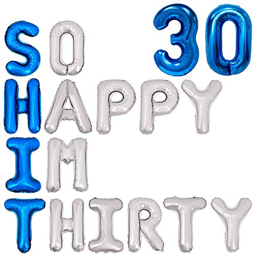 30th Birthday Balloons Funny 30th Birthday Decorations for him- So Happy IM Thirty Balloon Banner, Dirty 30 Birthday Party Supplies