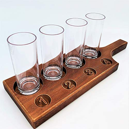 Beer Flights Set – Amish Crafted Solid Oak Beer Flight – Hand Made in USA -- 4 Unbreakable Beer Tasting Glasses Included – Hand Rubbed Finish -- Beer Sampler Flight Board for Versatile Use