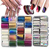 30 Roll Hologrphic Transfer Nail Foil Sticker Silver Laser Nail Decals 10 Roll Nails Strip Tape for Nails Art Design Decoration