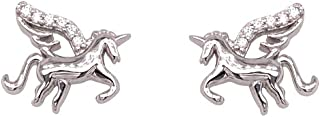 Bevilles Children's Cubic Zirconia Sterling Silver Unicorn Earrings Stud