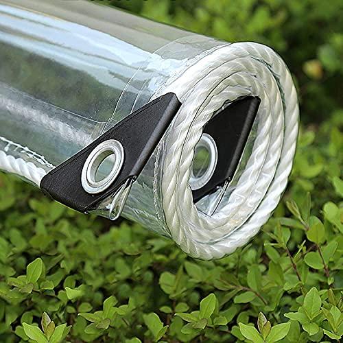 Tarpa de PVC transparente impermeable con ojales, lona resistente a prueba de intemperie Tarjetas duras con tapa plegable, protección contra la lluvia Tapa de la lona para muebles de jardín, (0,35 mm