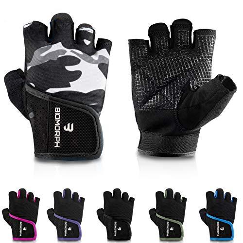 BIOMORPH Trainingshandschuhe für Damen und Herren I Fitness Handschuhe für Krafttraining, Bodybuilding, Crossfit (Grey Camo, 23,5cm - 25,5cm - XL)