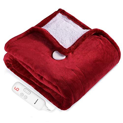 Heizdecke 130x180cm, Elektrische Wärmedecke fürs Bett mit Abschaltautomatik (5H) Überhitzungsschutz mit 6 Temperaturstufen, Heimgebrauch Sofa Büronutzung benutzen, Flanell Waschbar
