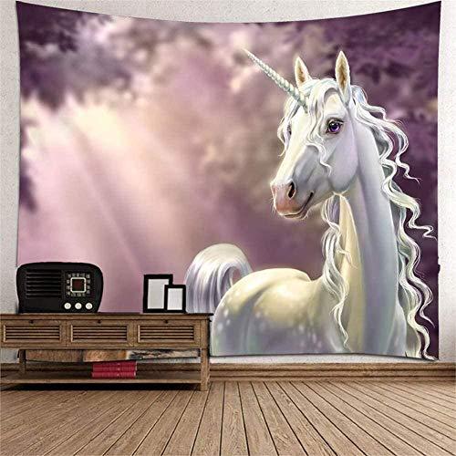 LDHHZ Tapiz Colgante de Pared Grande 3D Impresi¨n Multicolor Arte Decoraci¨n de Dormitorio en casa Tapices Indios Caballo Blanco Claro Mantel de Sala de Estar Bufanda de Playa de Picnic 200x150cm