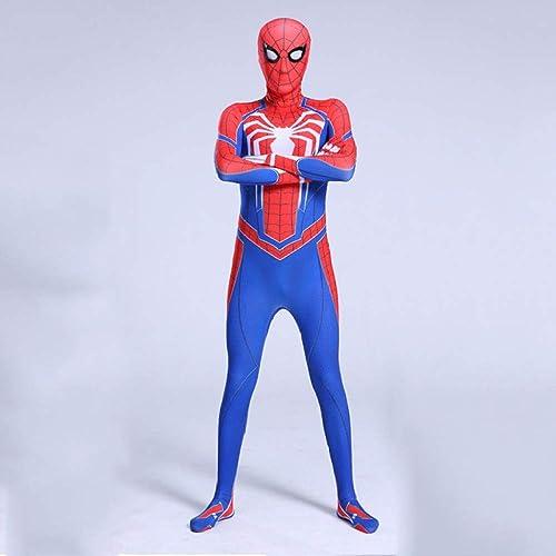 QXMEI Spiderhomme Cosplay Collants Une Pièce VêteHommests Adultes VêteHommests De Perforhommece voitureactère,bleu-180