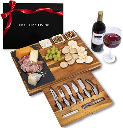 Extra Large Charcuterie Board Set w/ Gift Box - 19-Piece Cheese Board and Knife Set - Wedding & Holiday Gift Platter or House Warming Present - Acacia Wood & Slate Serving Tray for Meat, Wine & Cheese