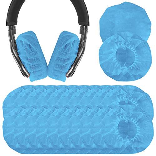 Geekria 100pairs Dehnbare Kopfhörer-Abdeckungen, Einweg-Ohrmuscheln für Medium/Large-Sized Over-Ear Headset, Ohrpolster(3.14-4.33inches/ Blau)
