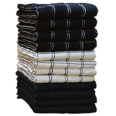 Kitchen Towels (12 Pack, 15X25 Inch) 100% Premium Cotton, Machine Washable Extra Soft Set of 12, 3 Designs Dobby Weave Kitchen Dish Cloths, Tea Towels, Bar Towels, Black - By HomeLabels