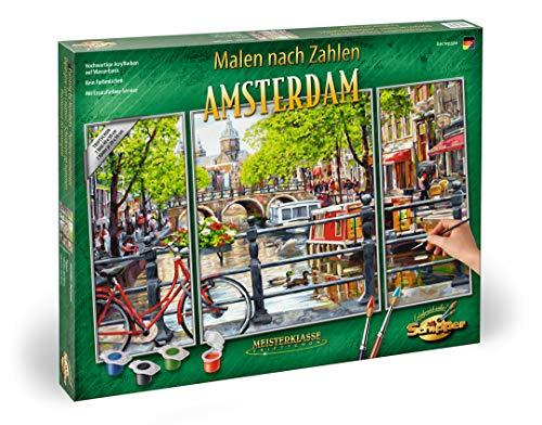 Schipper 609260812 - Malen nach Zahlen - Amsterdam - Bilder malen für Erwachsene, inklusive Pinsel und Acrylfarben, Triptychon 50 x 80 cm