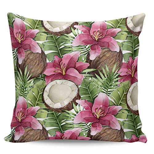 Ye Hua Summer Palm Tree Vallota Speciosa Square Canvas Throw Pillow Covers, Tropical Green Leaves Zippered Pillow Shams Cases for Cushion/Office/Sofa/Bedroom Home Decor