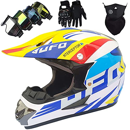 Casco Motocross NiñOs, Casco Integral Moto Adultos con Gafas/Guantes/MáScara, Casco Enduro Descenso Unisex para Scooter BMX MTB ATV Quad Bike (S) - Blanco