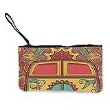 Lawenp Monedero de Lona Hippie Vintage Mini Van Peace Canvas Coin Purse Bag Portable Purse Pouch Bag with Zipper for Lipstick CoinsCredit Card Headset USB Charger Keys