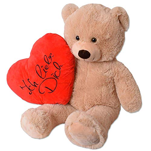TE-Trend Teddy Bear XXL Ich Liebe Dich Teddybär Riesen Kuscheltier Herz Herzkissen Stofftier 80cm Braun