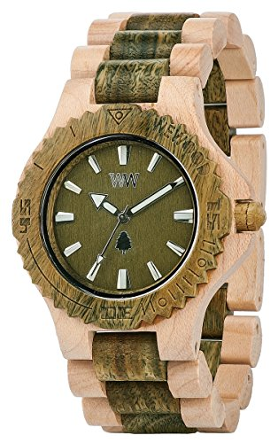 Big Sale Wewood Men's Date Beige/Army Wooden Watch