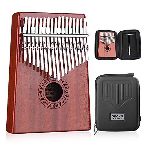 GECKO Karimba 17 keys Kalimba Thumb Piano and EVA High Performance Protective Case, Hammer, Study Guide