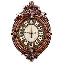 Fancy Elegant Ethnic Luxury Wall Clock W19H28 Inch Silent Battery Operated Large Antique Flower Decorative 3D Handmade European Style Fashion Resin Crafts Art for Living Room Family Senior Adult ZJART