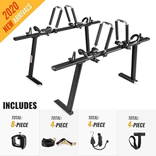 AA-Racks Model APX25 Aluminum Truck Rack with 8 Non-Drilling C-Clamps and 2 Sets Folding Stainless Steel Kayak J-Racks with Ratchet Straps, Ratchet Tie Down Straps & Anchor Straps