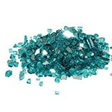 Golden Flame 10-Pound Fire Glass 1/4-Inch Caribbean Blue Reflective