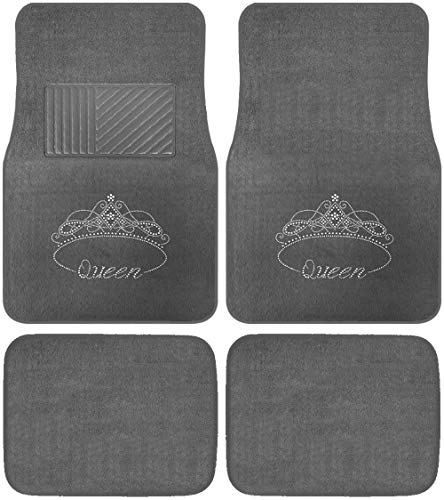 CarsCover Royal Queen Crown Crystal Diamond Bling Rhinestone Studded Carpet Car SUV Truck Floor Mats 4 PCS - Charcoal