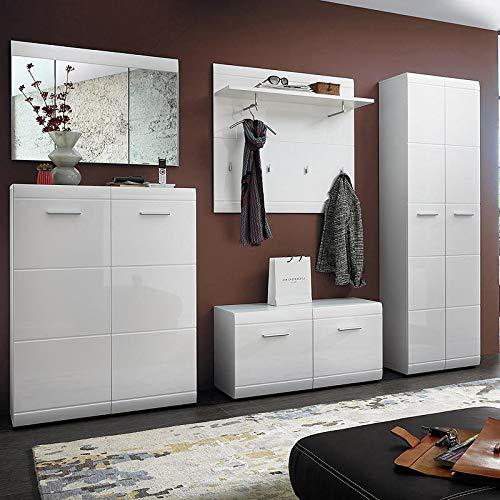 Lomadox Komplettes-Garderoben-Set in weiß Hochglanz inkl. Garderobenpaneel mit Haken