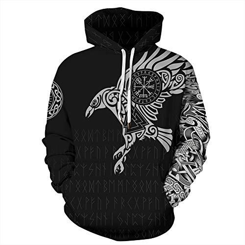 QZY Vintage Odin 3D Asgard Streetwear, Unisex Wikinger Hoodie Cool Gedruckt Hoodies Personalisierte Sweatshirt mit Großen Taschen, Weihnachten Paare Kleid,Runeshoodie,M