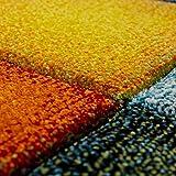 Paco Home Kurzflor Wohnzimmer Teppich Bunt Karo Design Vierecke Mehrfarbig Farbenfroh, Grösse:80x150 cm - 3