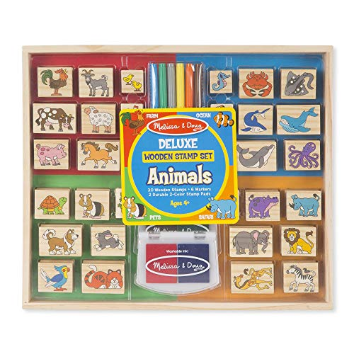 Melissa & Doug Deluxe Wooden Stamp Set: Animals - 30 Stamps  6 Markers  2 Stamp Pads