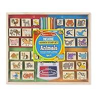 Melissa & Doug Deluxe Wooden Stamp Set – Animals