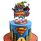 Superhero Cake Topper Birthday Cake Cupcake Decorations Party Supplies Toppers for Fans of Super...