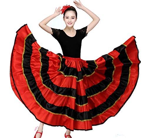 Rote spanische Flamenco-Rock Gypsy Frauen Tanzen Kostüm Gestreifte Satin glatt Big Swing Bauch Rock Performance-90CM,180°