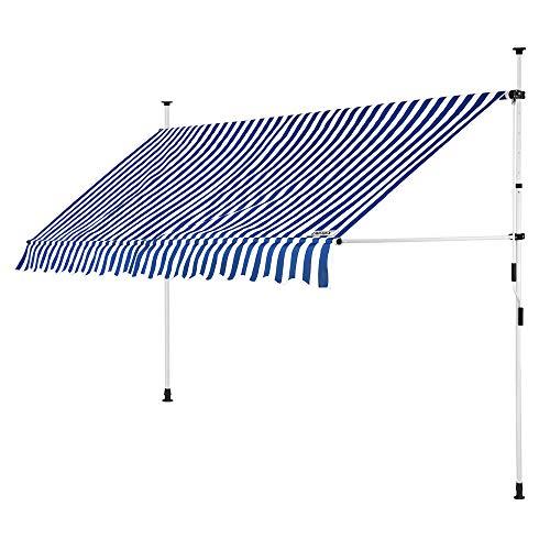 Detex Klemmmarkise 300cm x 180cm Blau-Weißmit Handkurbel Balkonmarkise UV-beständig höhenverstellbar wasserabweisend