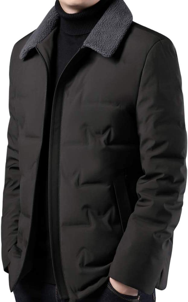 Down jacket Middle-Aged Men's Warm, Thicken Short Paragraph with Fur Collar, Winter Casual Jacket, Filler: 90% White Duck Down (Color: Dark Green, Blue Gray, Black)