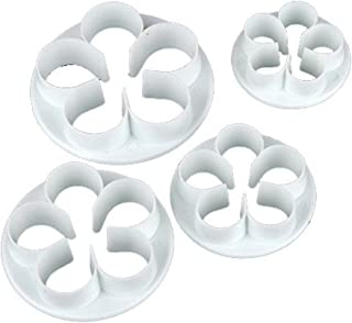 Generic 4Pcs/Set Rose Flower Petal Shape Cake Sugarcraft Fondant Cookies Plungers Cutters Decorating Tools (White)