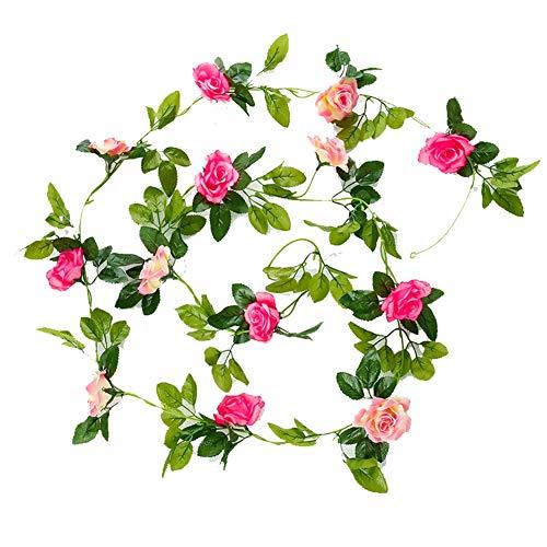 YNFNGXU Simulación De Rosa Rosa Flor De La Vid Flor Artificial De Aire Acondicionado De Plástico Bloque Conducto De La Escalera De Barandas Pasamanos Decoración De Ratán Flor