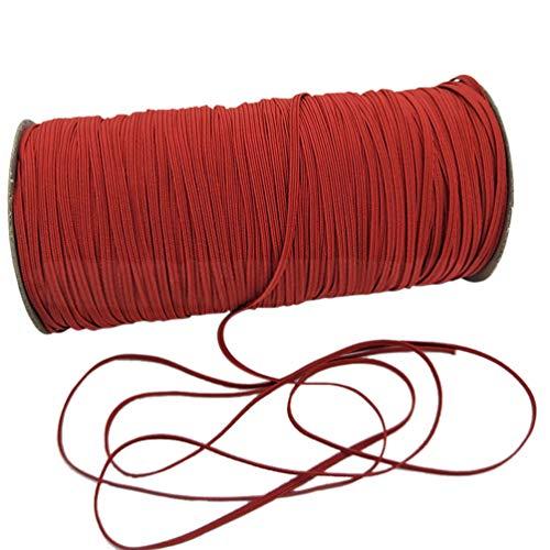 LOOGOOL 1/8' Heavy Stretch String Braided Elastic Cord/Elastic Band/Elastic Rope 200 Yard Sewing Elastic Spool (Red)