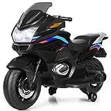 COSTWAY 12V Elektro Polizei Motorrad mit LED Scheinwerfer, Musik, Pedal,...