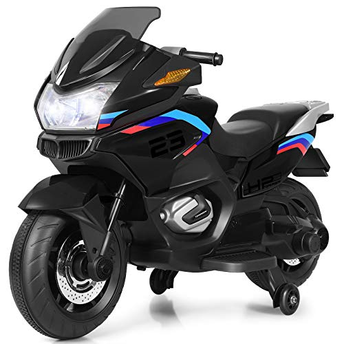 COSTWAY 12V Elektro Polizei Motorrad mit LED Scheinwerfer, Musik, Pedal, Vor- und Rückwärtsgang, Kindermotorrad mit Stützrädern, Elektromotorrad 3-7 km/h, für Kinder ab 3 Jahren (Schwarz)