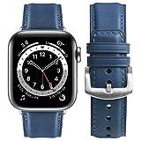 Fullmosa Correa Compatible con Apple Watch 38mm 40mm 42mm 44mm, YOLA Serie Pulsera de Piel Bruñida para iWatch SE Series 6/5/4/3/2/1, Azul + Hebilla Plata, 42mm/44mm