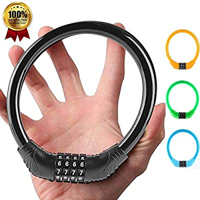 Bike Lock, 4-Digit Resettable Combination Heavy Duty Bike Lock, Mini Portable Outdoor Cycling Bike Accessories, for Bicycles, Motorcycles, Electric Bicycles, Iron Sliding Doors, Glass Doors (Black)