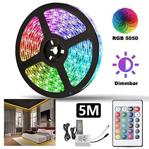 Hengda 5M Led Strip, RGB LED Streifen SMD 5050 300LEDs, 24-Tasten IR Fernbedienung und 12V Netzteil, LED Band, Dekoration für Zuhause, Küche, Weihnachten